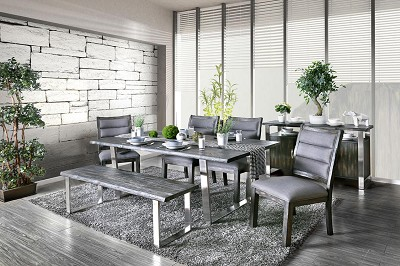 Rustic Style Stainless Steel Table Set