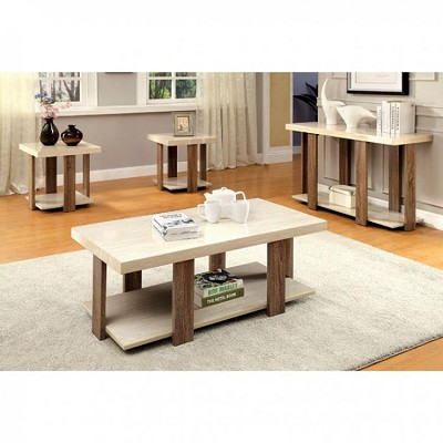 3 Pcs White Faux Marble Coffee Table