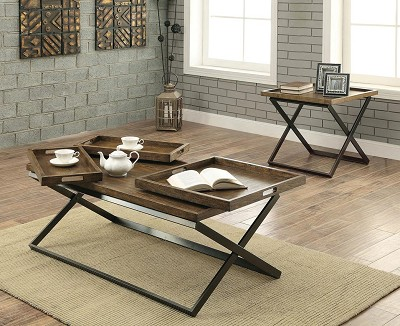 Solid Wood and Metal Coffee Table