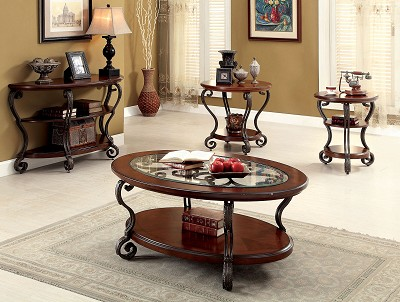 May Brown Cherry Finish Coffee Table