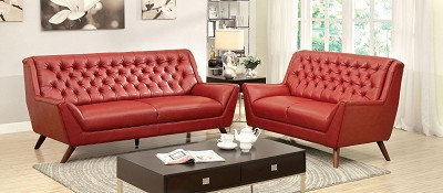 2 Pcs Red Button Tufted Sofa Set