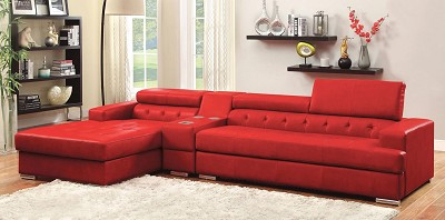 Red Leather Sectional Sofa Set with Console
