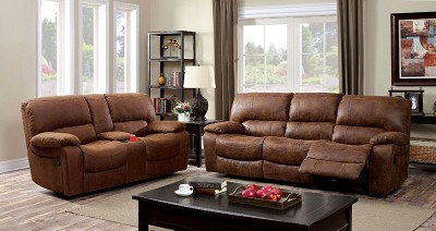 Brown Leatherette Sectional