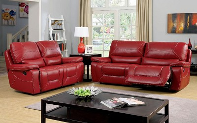 2 Pcs Red Leather Sofa Set (Out of Stock) Call store for ETA