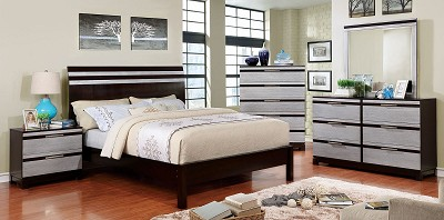 Silver and Espresso Finish Bed Frame