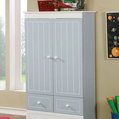 Blue & White Finish Deana Armoire