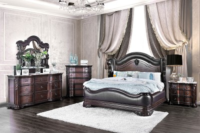 Traditional Style Brown Cherry Finish Bed Frame