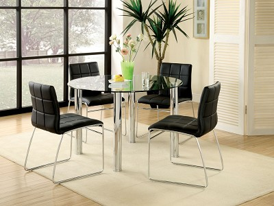 5 Pcs Circle Metal/ Glass Sturdy Dining Table Set- white or Black