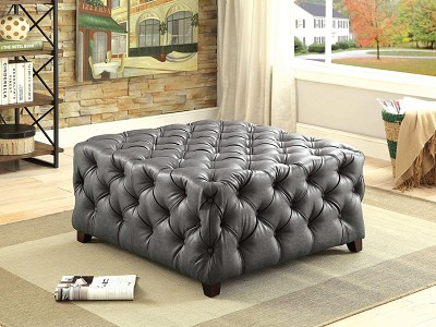 Gray and White Tufted Bonded Leather Square Ottoman