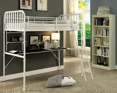 White Workstation Bunk Bed