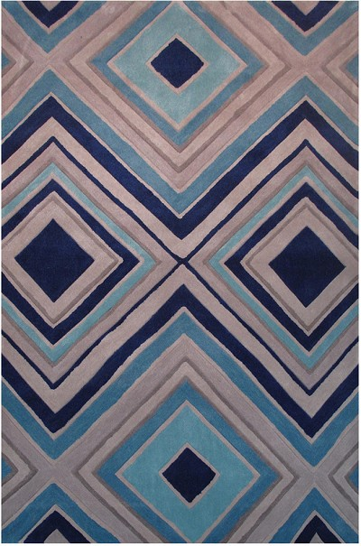 Grey and Blues Area Rug