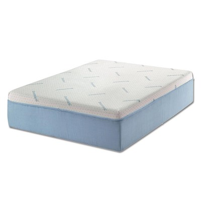 "12"" White and Blue Memory Foam Mattress with Marble Gel Visco Foam"