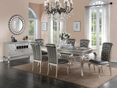 5 Pcs Antique Silver Formal Dining- additional chair option