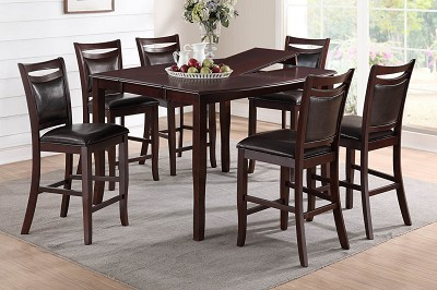 7 Piece Espresso Finish Top Dinette Set