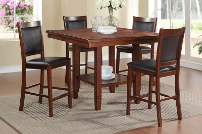 5 Piece Cherry Finish Counter Height Table Set