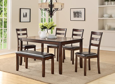 6 Pcs Espresso Finish Table Set with Bench