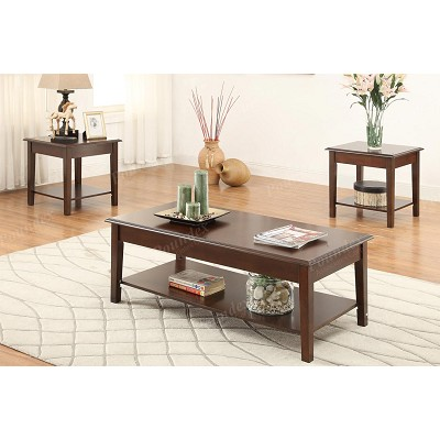 Pcs Espresso Finish Coffee Table Set - Espresso finish coffee table set