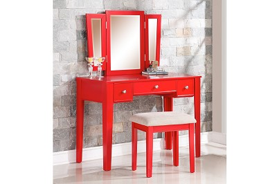 Red Vanity Set with Stool