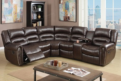 Brown or Black Reclining Sectional Leather Sofa Set (Out of Stock) Call Store for ETA