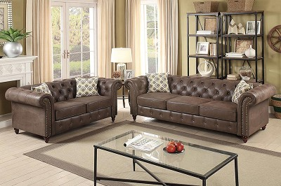 2 Pcs  Leatherette with Tufting Sofa Set