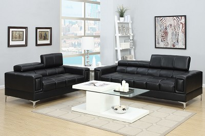 2 Piece Leatherette Modern Sofa Set- Black