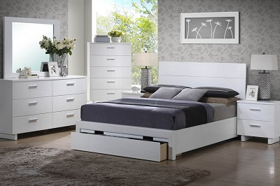 White  Chess Bed with Drawer Footboard ( OUT OF STOCK) 7/3/20