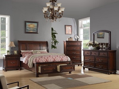 Cherry Solid Wood Bed Frame with Drawers