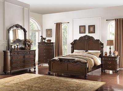 Traditional Solid Wood Bed Frame - color option
