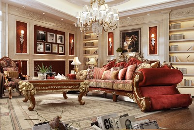 3 Pcs Extra Long Royal Red with Gold Sofa