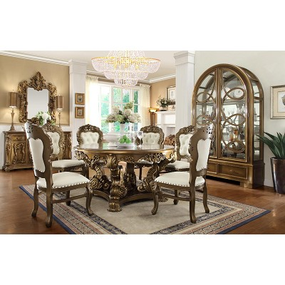 - 7 Pcs Antique Style Circle Dining Table Set