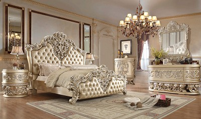 Silver and Pearl Finish Luxury King Bed Frame