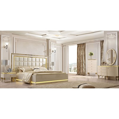 White Luxury Bed Frame WIth Gold Trim