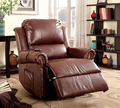 Stand Power Lift Brown Leather Recliner