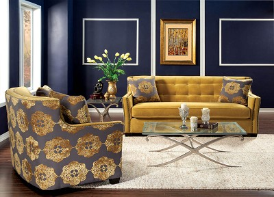 2 Piece Contemporary Gold Sofa Set
