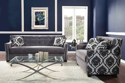 2 Piece Contemporary Silver Sofa Set