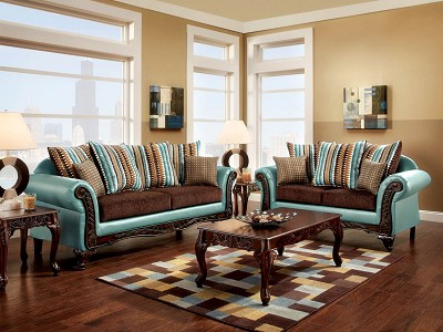 2 Pcs Traditional Sofa Set - Teal