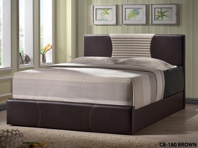 Brown and Beige Queen Bed Frame