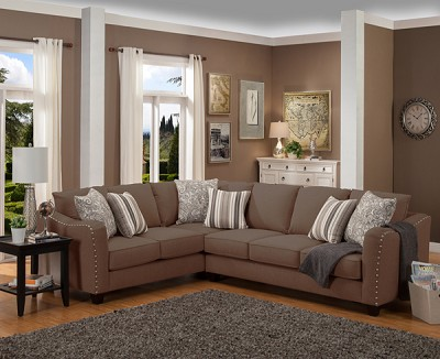 Angelica Sectional Sofas Set with Nail Heads