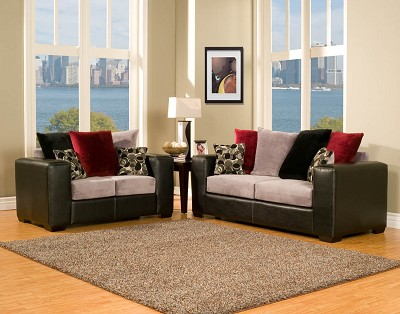 2 Piece Black, Grey, and Red Modern Sofa Set