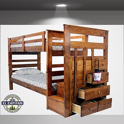 Solid Wood Twin/Twin Bunk with Stair case storage