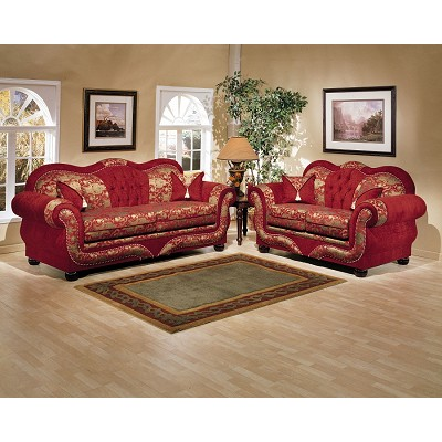 Piece Gold on Red Persian Style Sofa Set