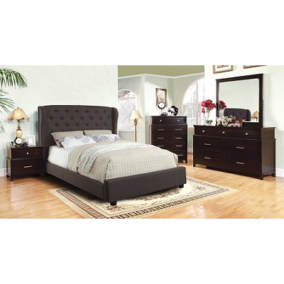 Gray Fabric Contemporary Style Padded Bed Frame