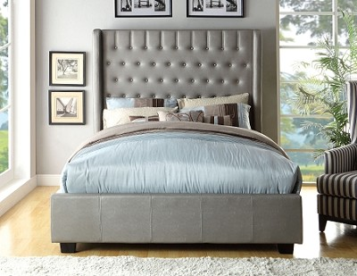Contemporary Silver Leatherette Bed Frame