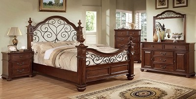 Antique Dark Oak Queen Bed Frame