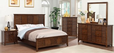Walnut Finish Queen Bed Frame