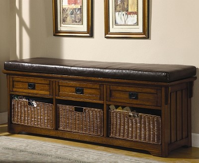 Large Storage Bench with Baskets