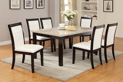 7 Piece Cream Marble Top Dining Set